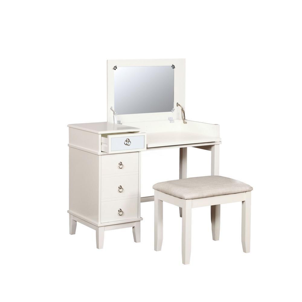 Linon Home Decor Eve 2 Piece White Vanity Set Thd00478 White