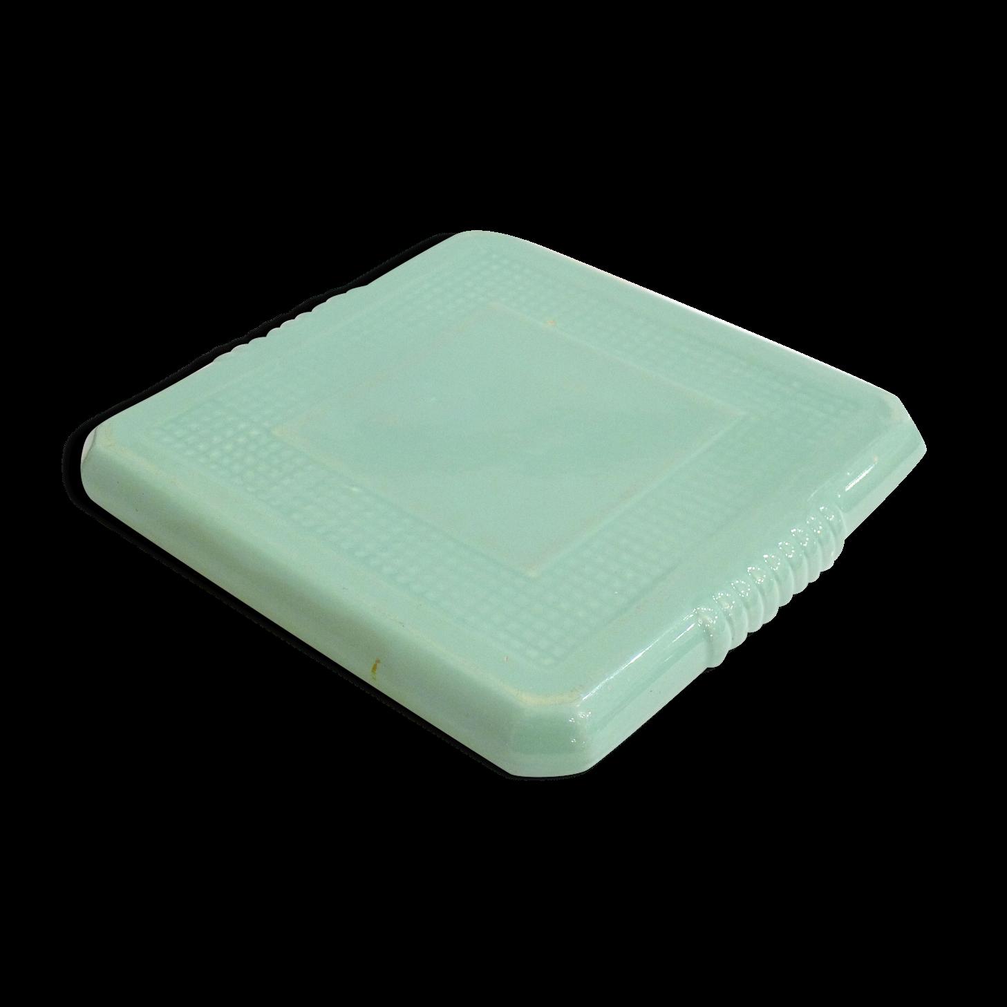Faience Vert D Eau dessous de plat carré en faïence vert d'eau | dessous de