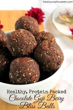 Chocolate Goji Berry Protein Bliss Balls; sweet, crunchy chocolate flavoured bliss balls. With no refined sugar, they are protein packed and perfect for a snack.
