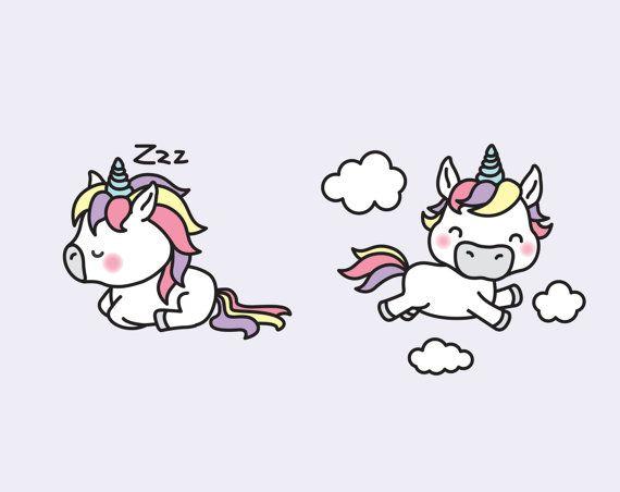 premium vector clipart kawaii unicorns cute set high quality vectors instant download einhorn malen sachen steinbock vektor vektorgrafik in indesign einfügen