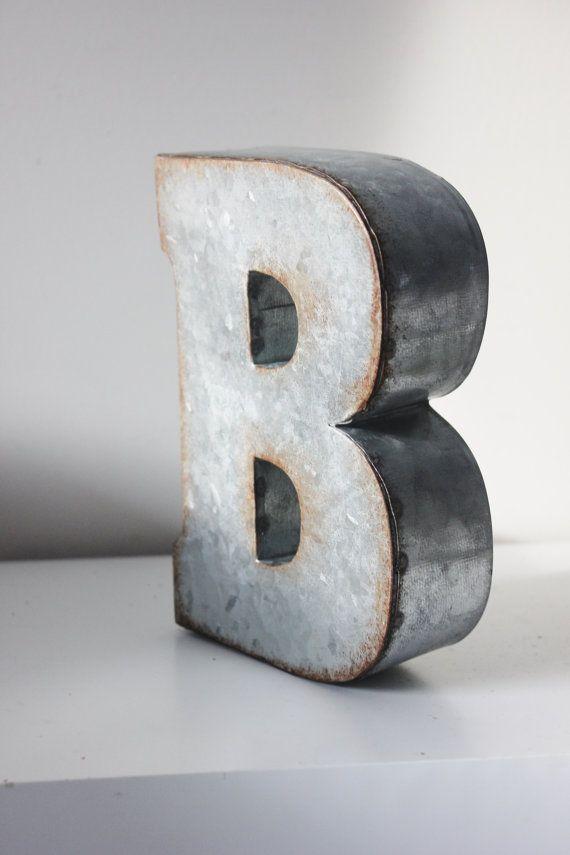 4 Large Metal Letter Zinc Steel Initial Home Decor Diy