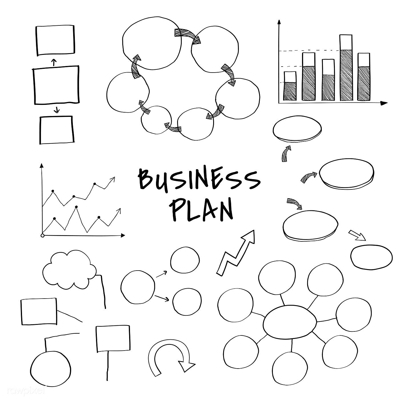 Business Plan Set With Chart And Graph Vectors Free Image By