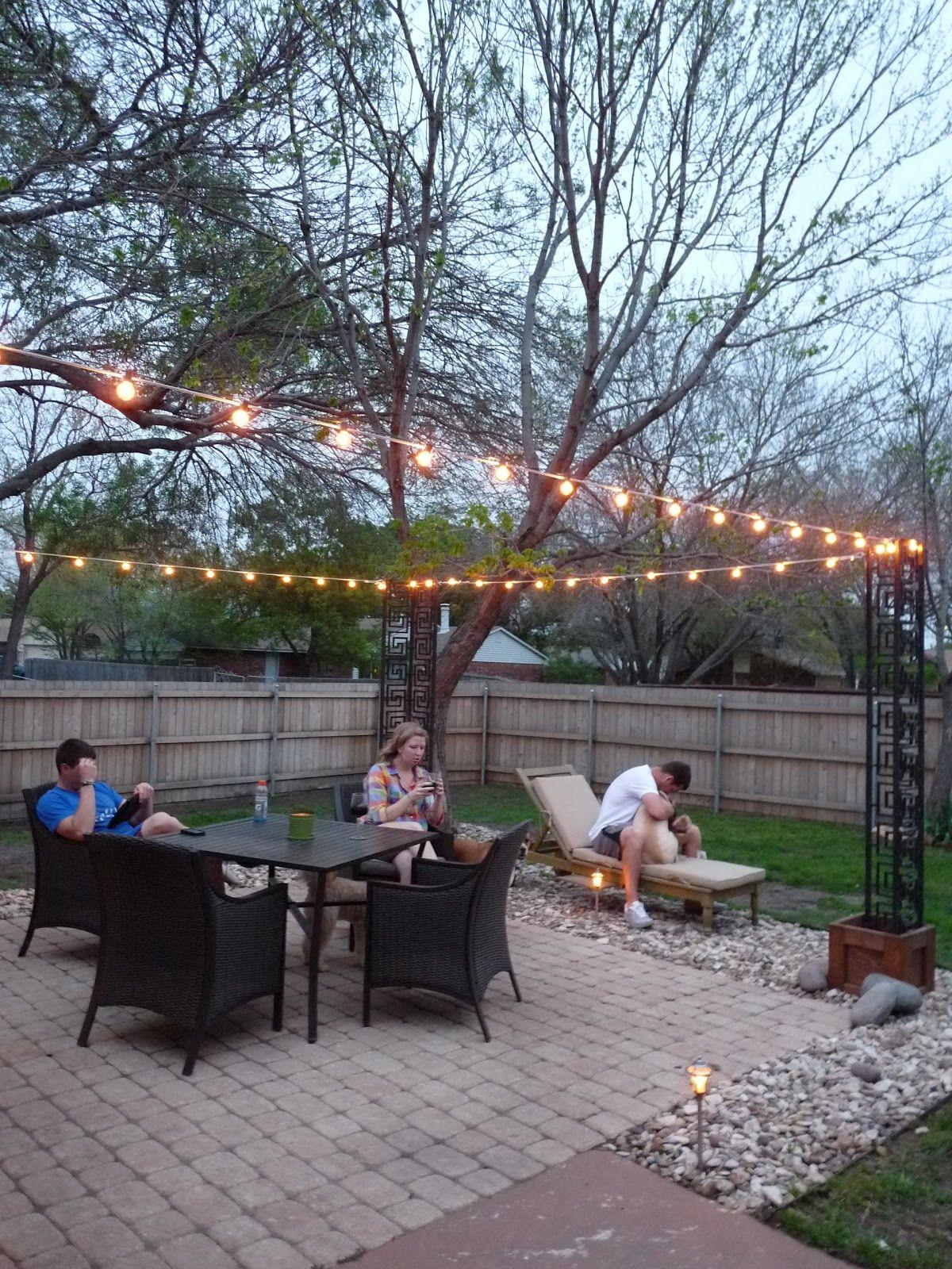 diy patio lighting DIY Stringing Patio Cafe Lights