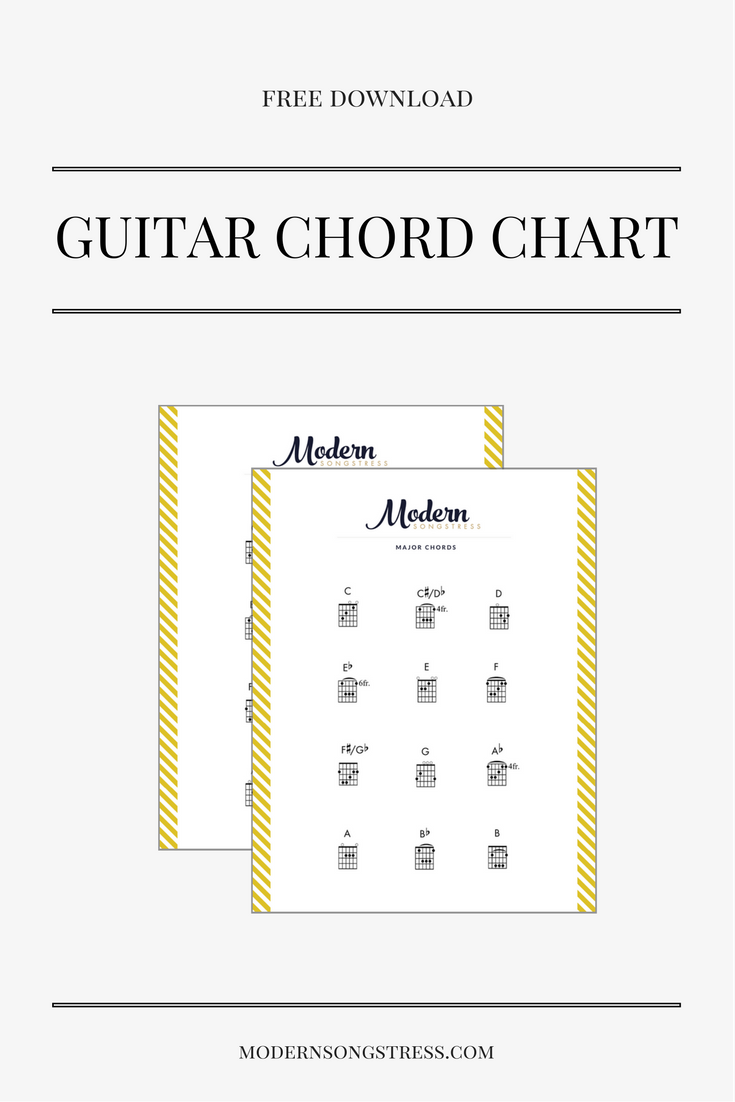 Free Printable Guitar Chord Chart Modern Songstess Music Theory