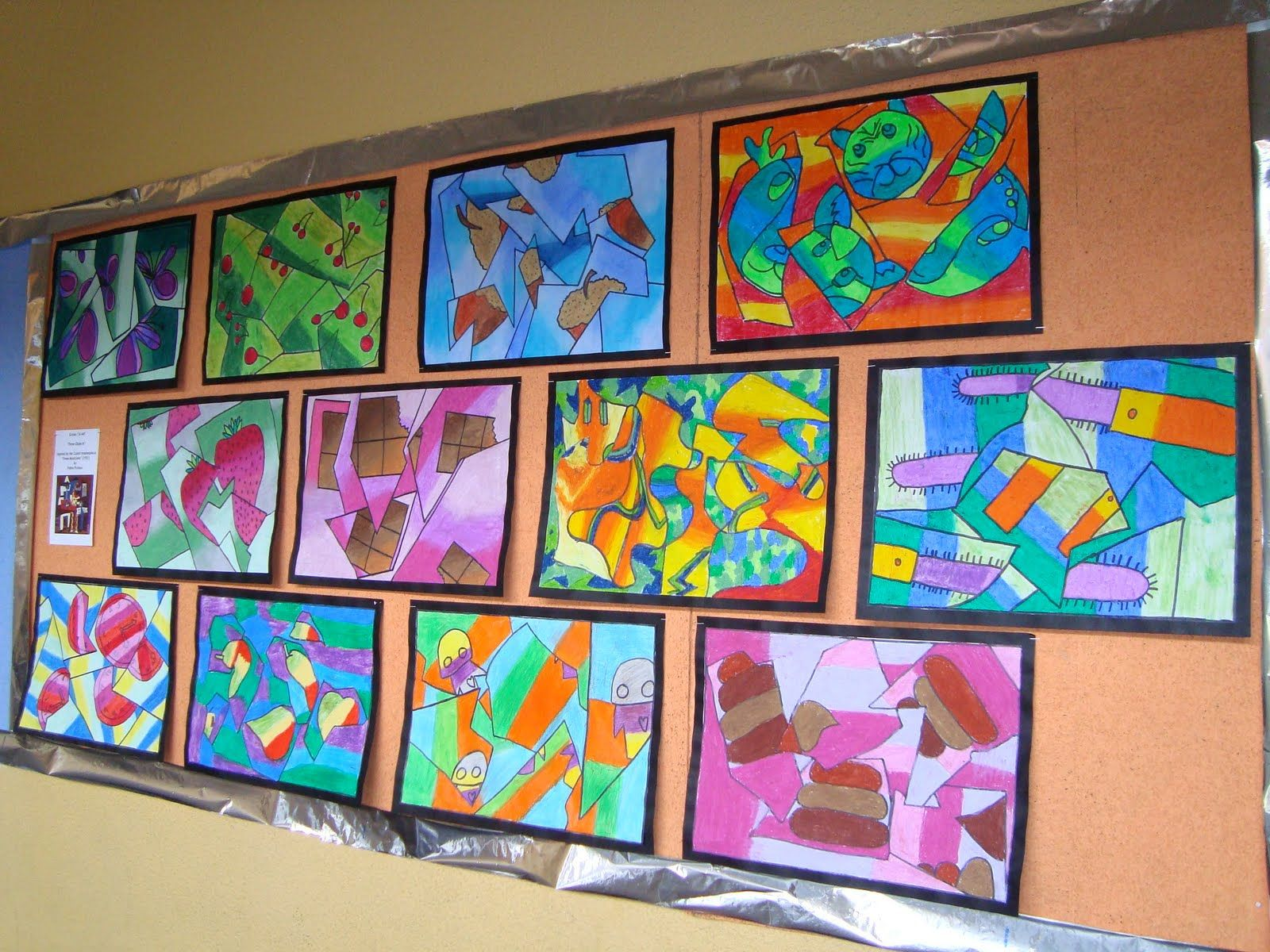 Fractured Cubist Oil Pastel Drawings
