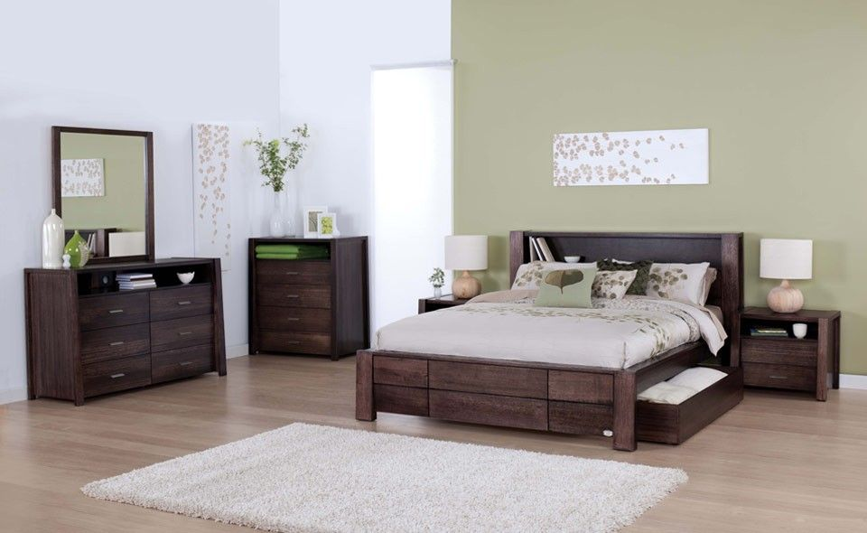 modern bedroom suites. Forty Winks Aurora Modern Dark Wood Stained Bedroom Furniture Suite With Cool White And Green Linens Suites