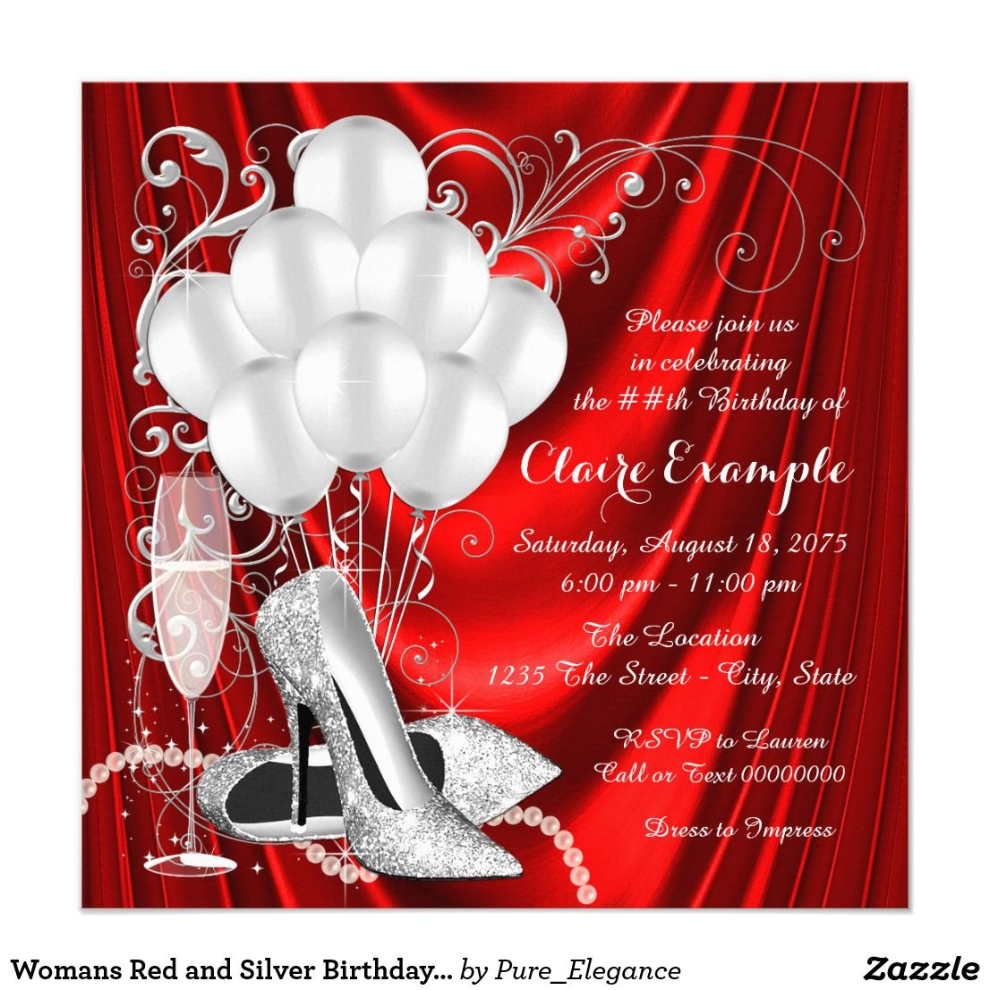 Womans Red and Silver Birthday Party Luxe Invitation | Pinterest ...