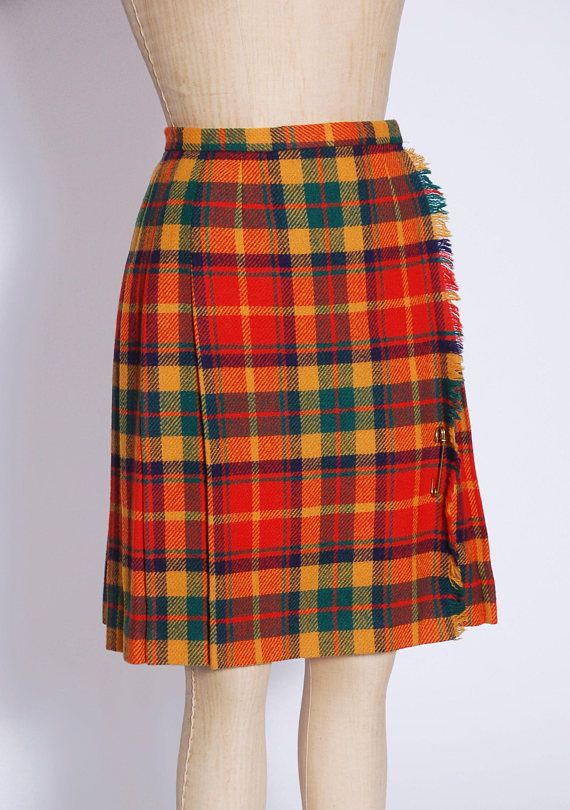 68a44a2dd45f0f Plaid wrap skirt / 60s plaid skirt / pleated school girl skirt / fringe  checker skirt / orange plaid