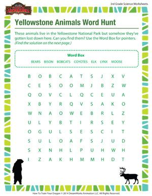 Yellowstone Animals Word Hunt - Printable 3rd Grade Science ...