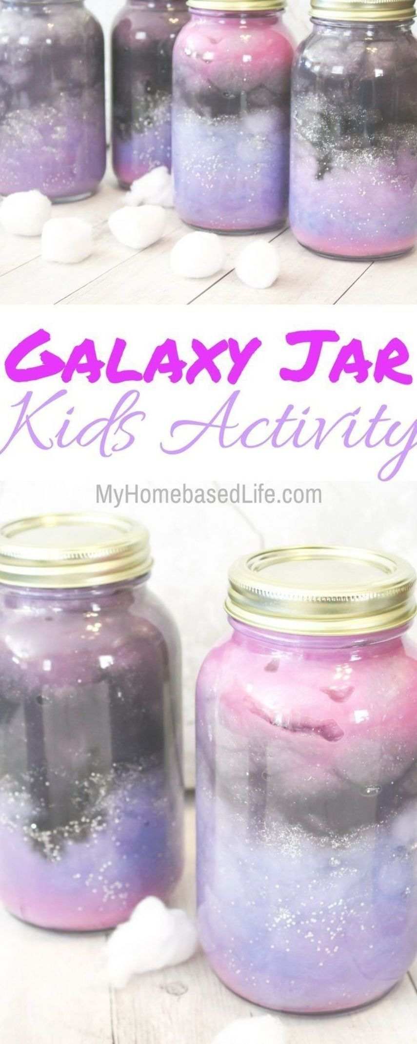 These Galaxy Jars are so simple and fun for the kids to create Let your childs creativity go wild on these and their masterpiece will be amazing  Homeschool Activity  Gal...