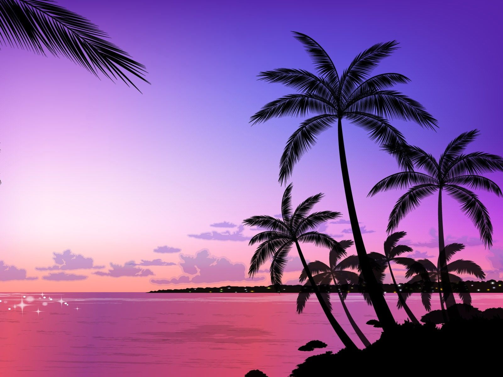 Palm trees with orange and pink gradient Ideas