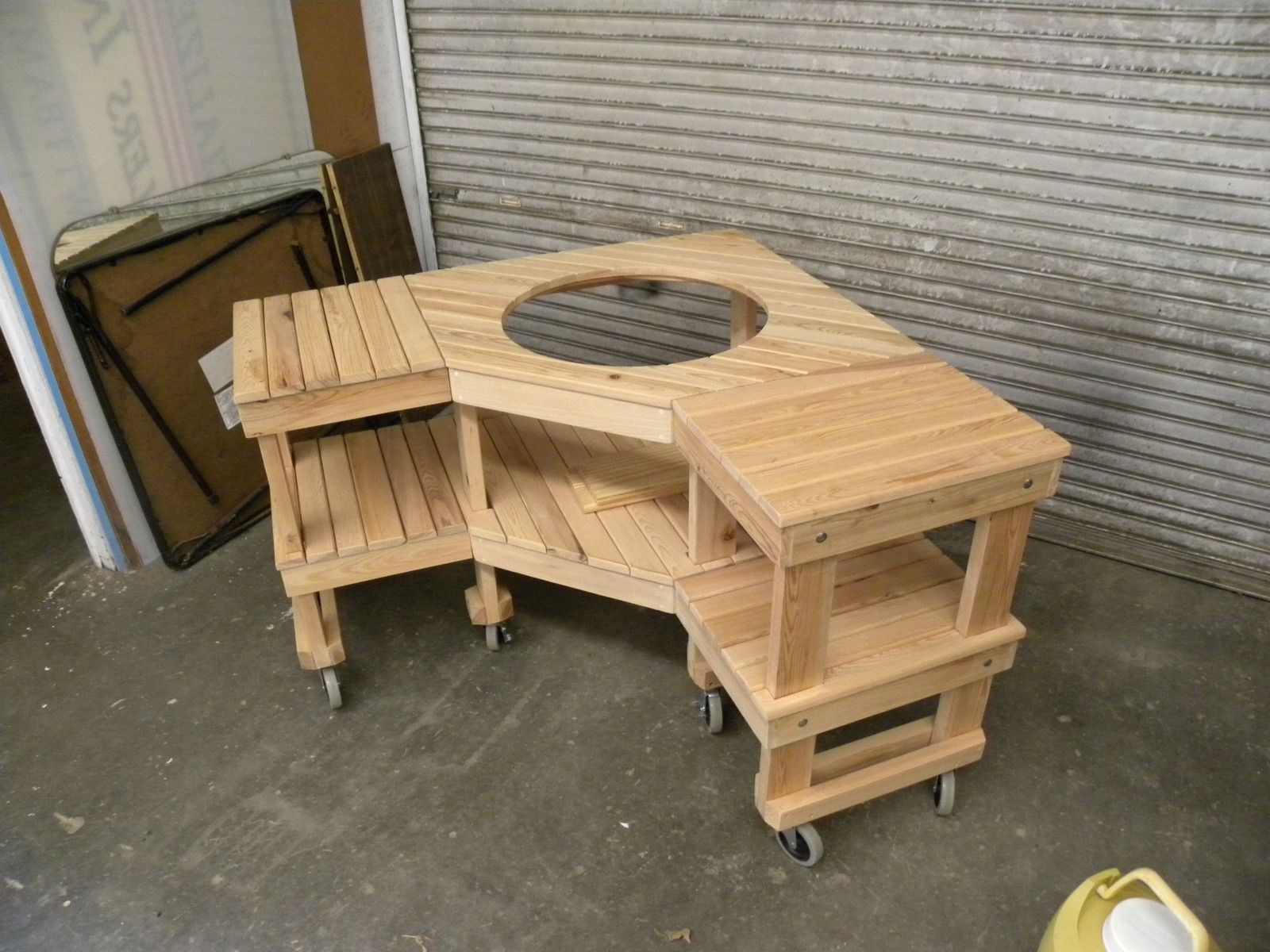 Custom Made Green Egg Corner Grill Table   Adapt To Webber