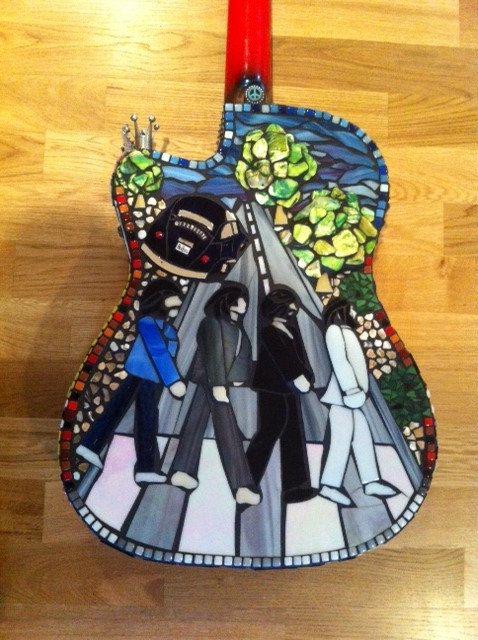 Beatles Tribute Mosaic Guitar Abbey Road Abbey Road Mosaic Beatles Art