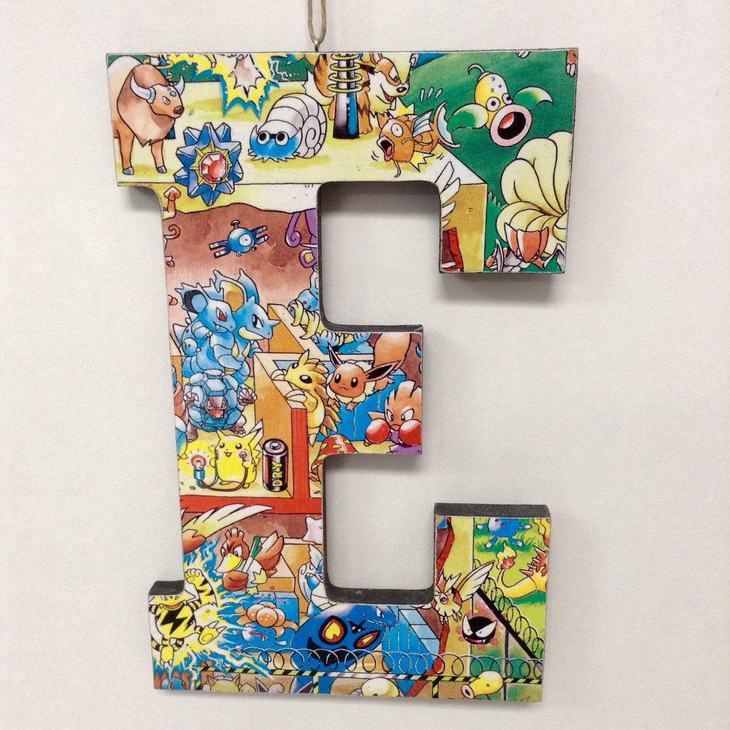 Handcrafted Comic Book  Block Letter E Pokemon Cartoon Collage