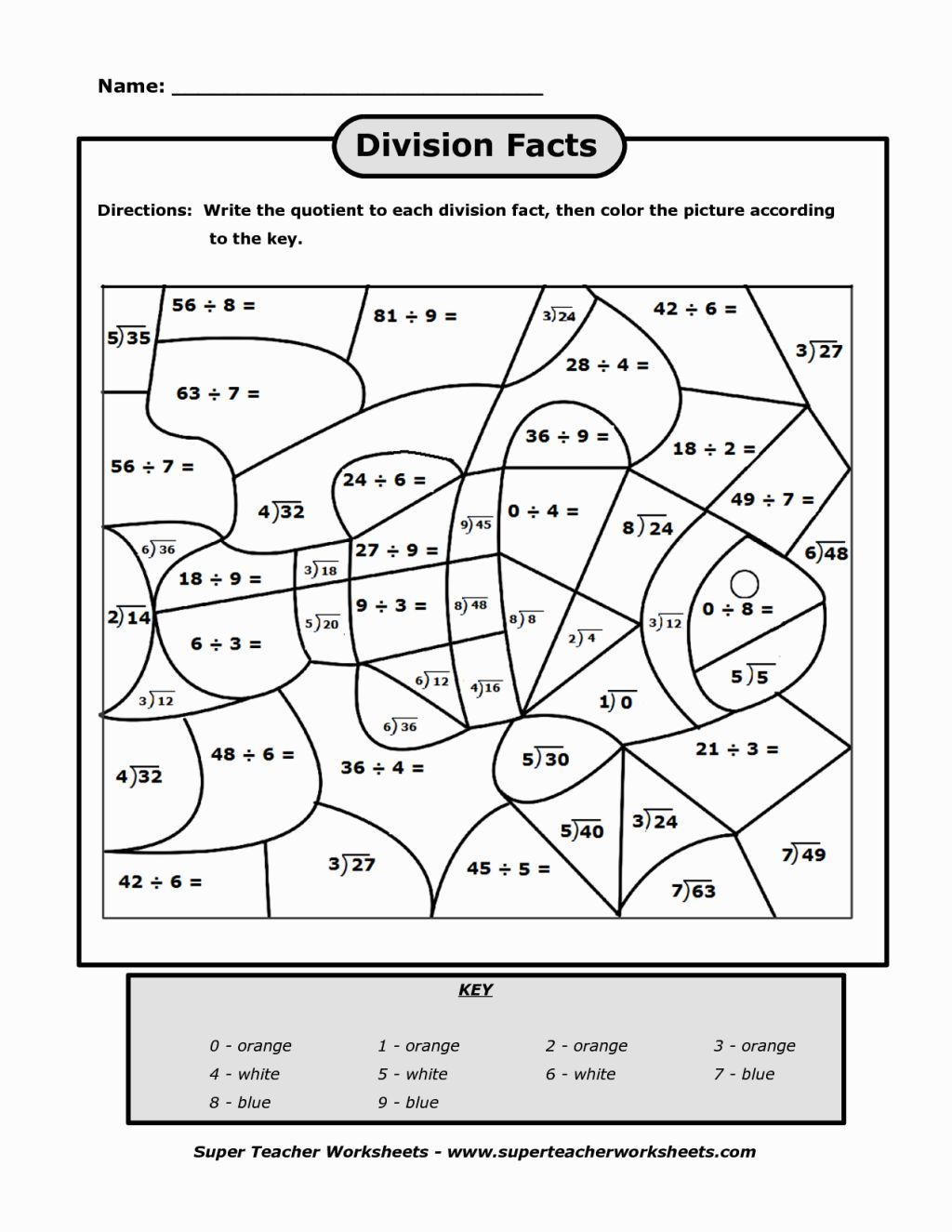Division Coloring Fun math worksheets