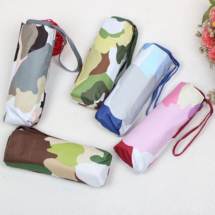 Camouflage flat umbrella mini sun umbrella ultra-light five fold sunny umbrella UV sun umbrella folding #Affiliate