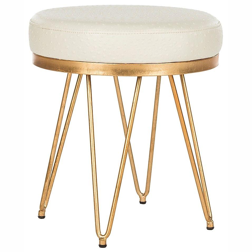 Safavieh Jenine Round Bench In Cream Bed Bath Beyond Round Stool Vanity Stool Vanity Stool Ideas