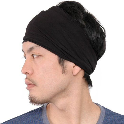 Casualbox mens Elastic Bandana Headband Japanese Long Hair Dreads Head wrap  Black 15799749b68