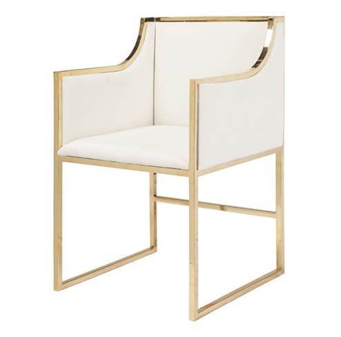 Linen And Gold Dining Chair
