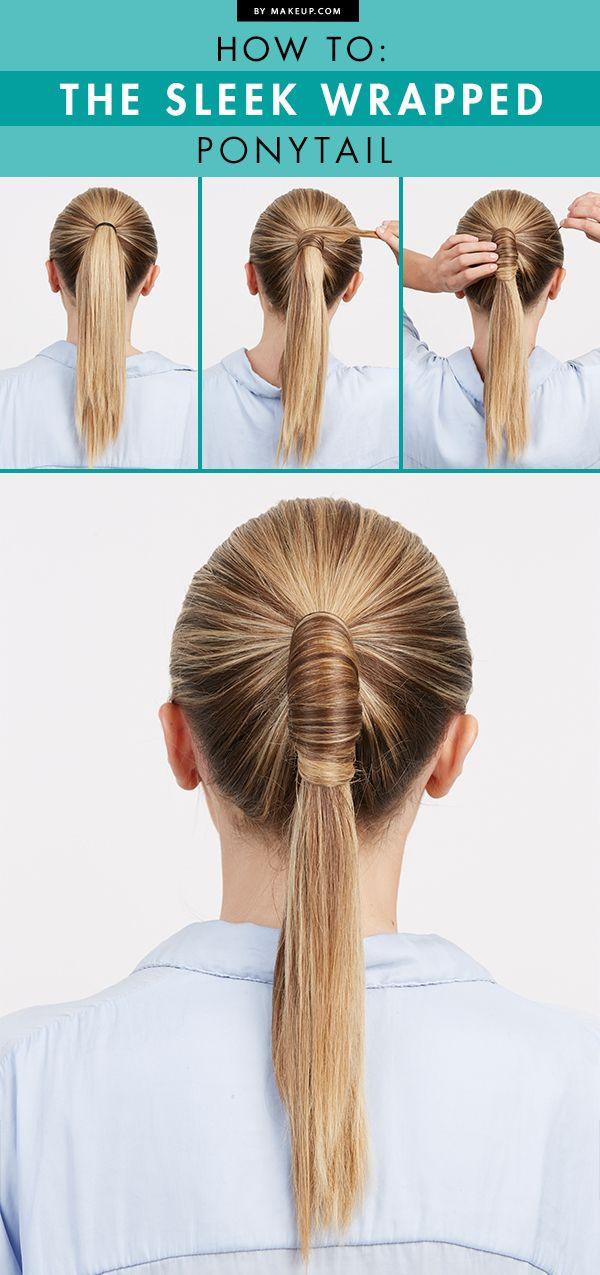 Ponytail With Hair Wrapped Around : ponytail, wrapped, around, Sleek, Wrapped, Ponytail.Makeup.com, Styles,, Hacks,, Ponytail