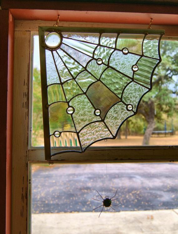Halloween Spider Web Stained Glass Window Decoration 60 00 Via