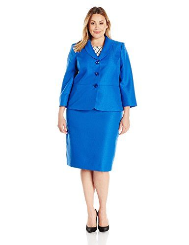 97c087fa8fa73 Le Suit Womens Plus Size Tweed 3 Button Shawl Collar Skirt Bali Blue 18W      See this great product.