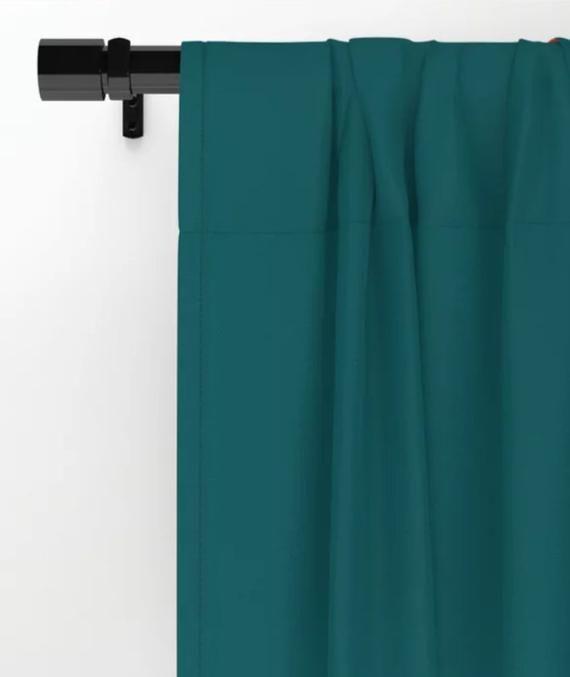 Geometric Print Window Curtains Rod Pocket Curtain Panel Teal