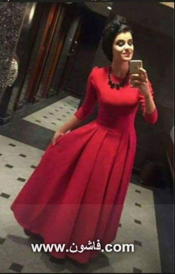 فستان سهرة باللون الأحمر الجذاب صور فساتين فساتين زفاف فساتين سواريه فساتين للمحجبات بيت Stylish Party Dresses Soiree Dress Hijab Fashion Inspiration
