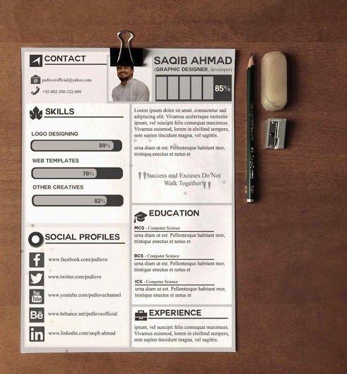 free cv resume template psd