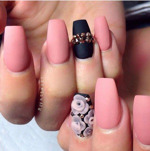Black And Pink Matte Nails Nails Pink Nails Nail Art Nail Ideas Nail