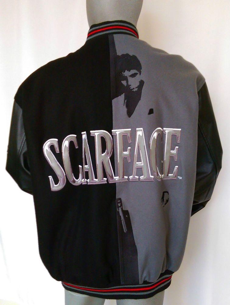 6629e06f6 JH Design Scarface Letterman Jacket Reversible Sz 2XL Tony Montana Pacino  Black  JHDesign  Letterman