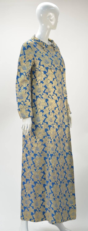 1960's Holiday Blue with Gold Metallic Brocade Long Evening Coat/Coat Dress