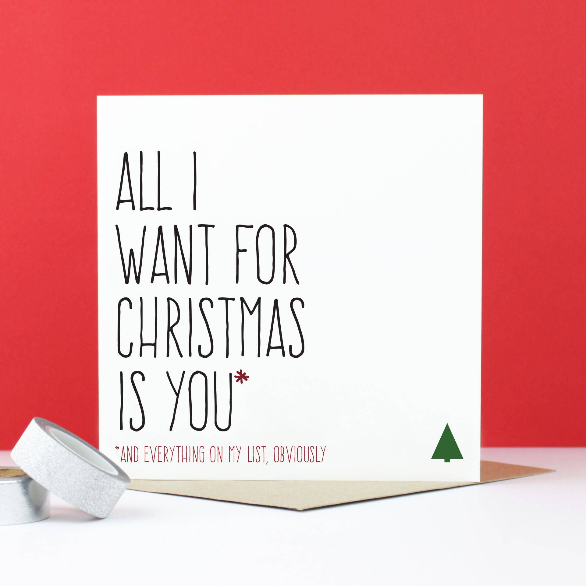 Funny Christmas Card All I Want For Christmas Is You Etsy Funny Christmas Cards Boyfriend Christmas Card Christmas Humor