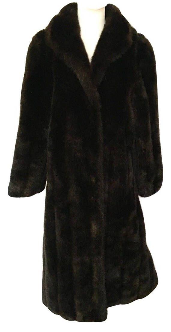 80s Deadstock Black Faux Fur Coat US 12 1980s Jacket