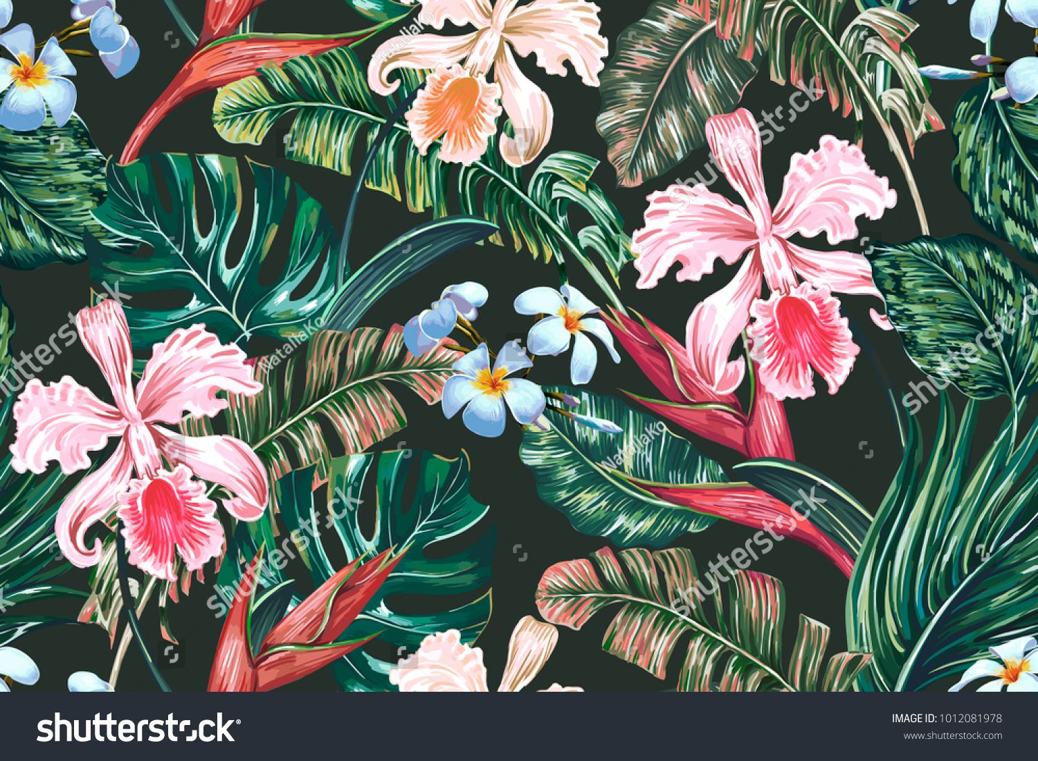 Tropical Floral Seamless Vector Pattern Background With