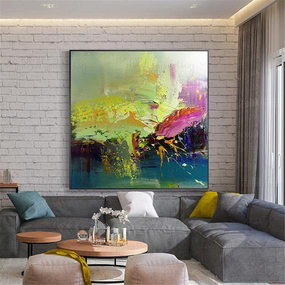 Original gold acrylic Abstract paintings on canvas wall