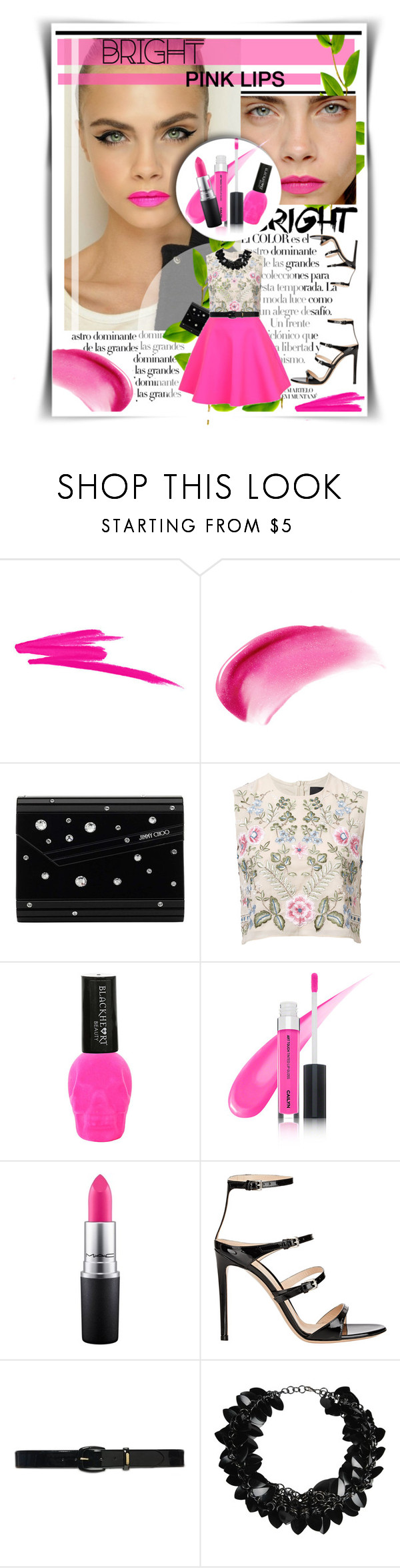 """""""Bright Pink Lips"""" by mymy ❤ liked on Polyvore featuring beauty, Arco, NARS Cosmetics, Jimmy Choo, Needle & Thread, UNIF, MAC Cosmetics, Gianvito Rossi, Lauren Ralph Lauren and First People First"""