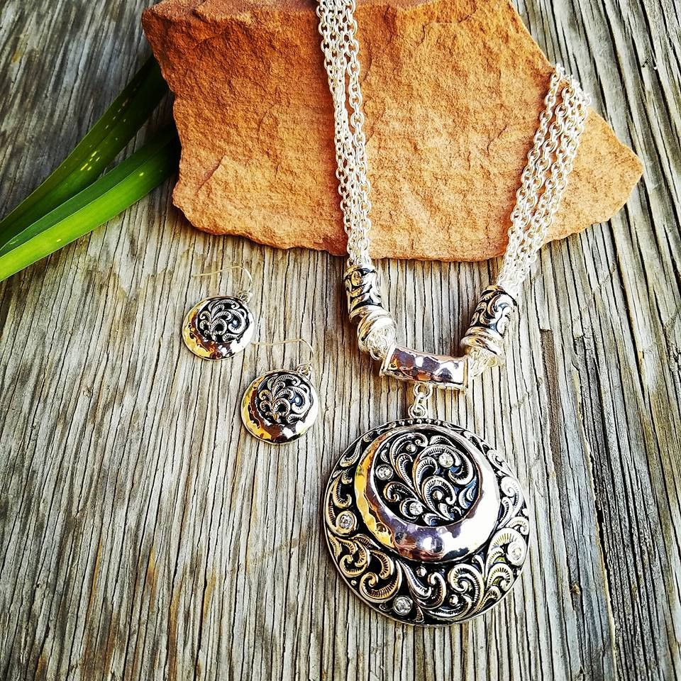 Black & Silver Scroll Necklace