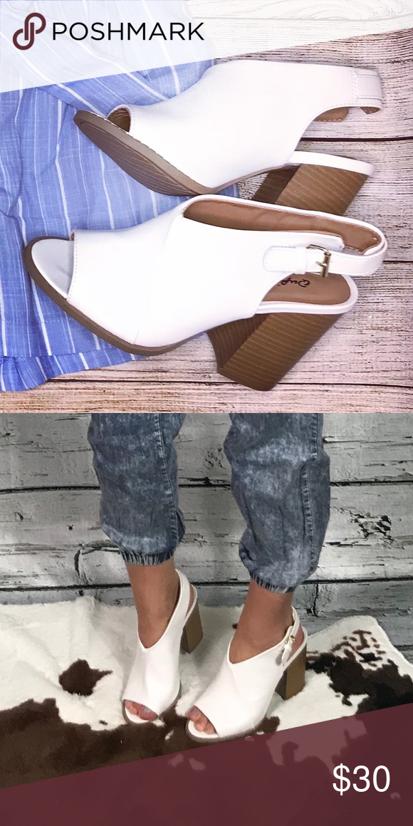 e649f3bacc6b6 White Faux Leather Bootie 🌸 True to size 🌸 Functional buckle Materials: Faux  Leather ** I'm a size 6 with a wide foot, and can wear a 6 and 6.5 in these  ...