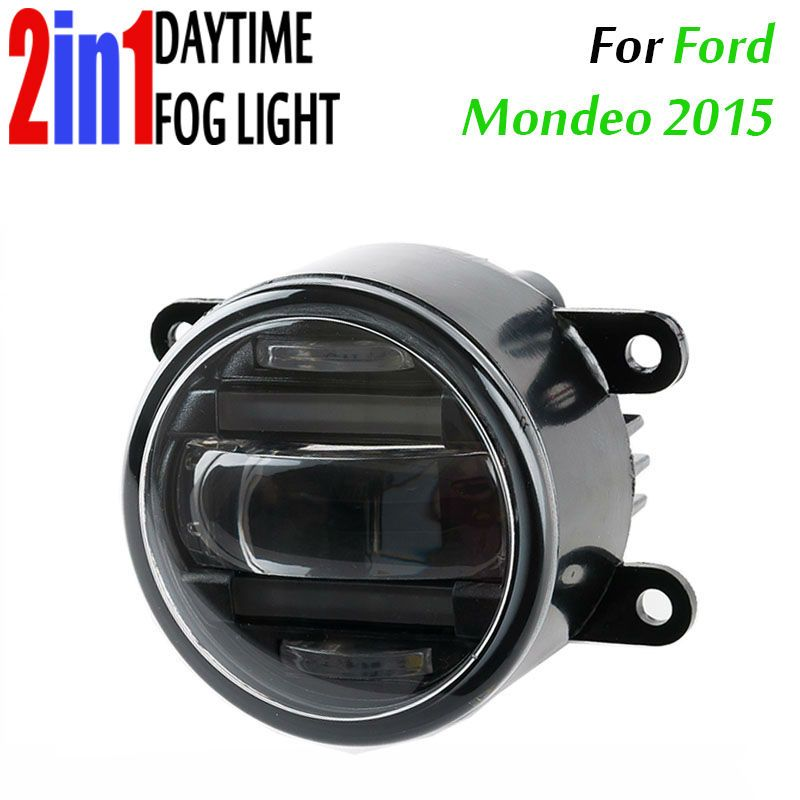 90mm Round Auto Car Trucks Drl Daytime Fog Led Daytime Running And Led Fog 2 In 1 With Projector Lens Waterproof For F Led Fog Lights Projector Lens Car Lights