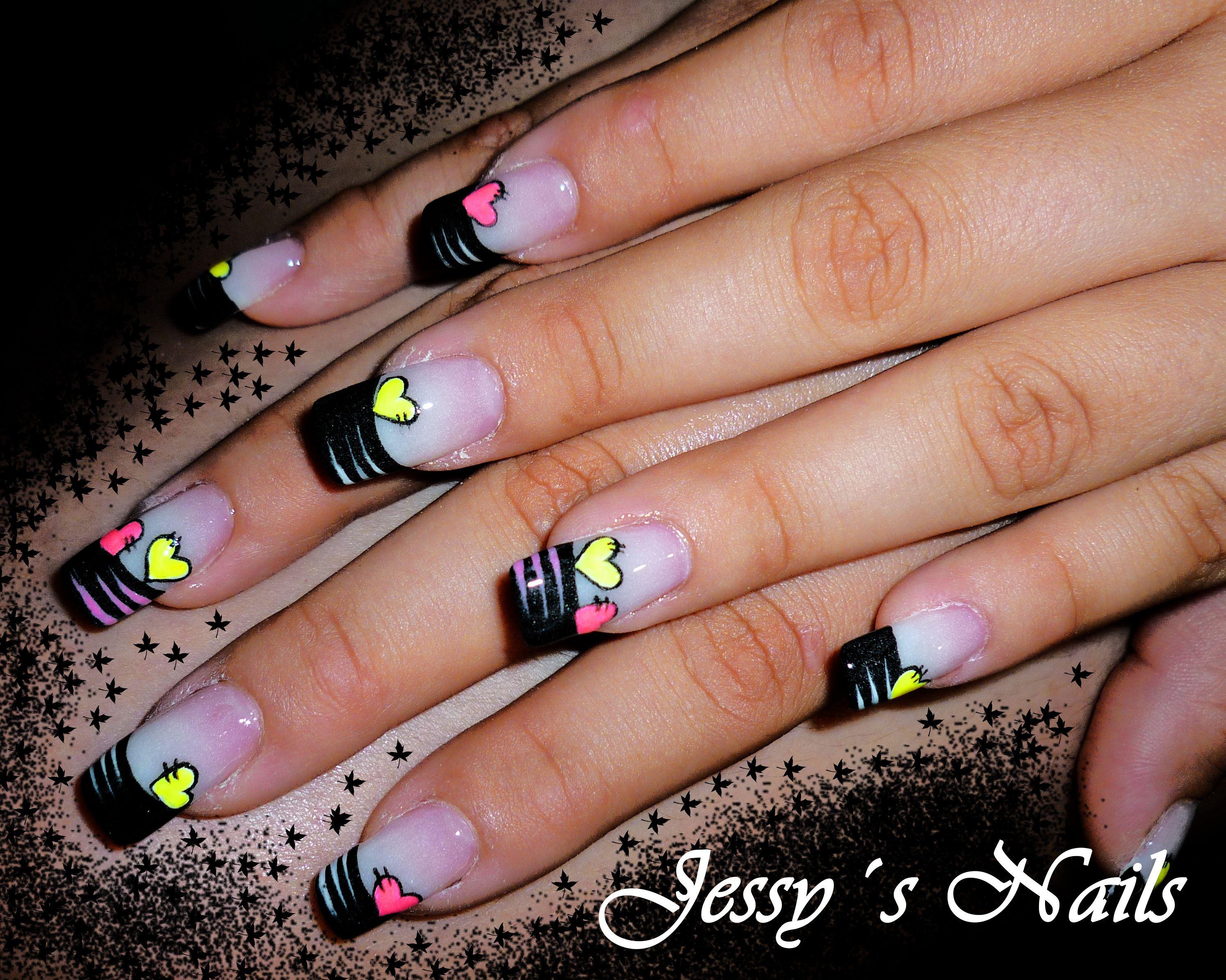 uñas con frances negro | uñas | Pinterest
