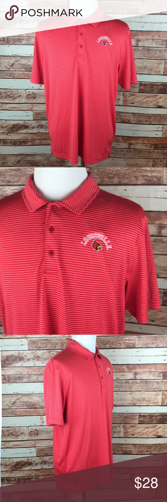 Louisville Cardinals Red Stripe Golf Polo Shirt Nwt In 2018 My