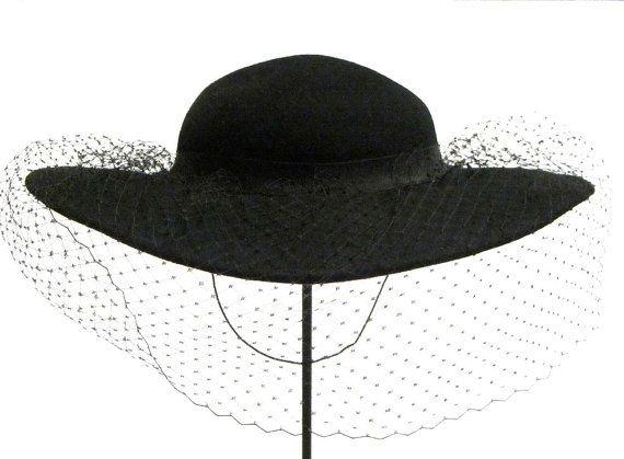Black Wide Brim Diamond Veil Hat Bollman Hat Company Womens Doeskin Felt 100 Wool Dressy Hat Dressy Hats Veiled Hats Black Floppy Hat
