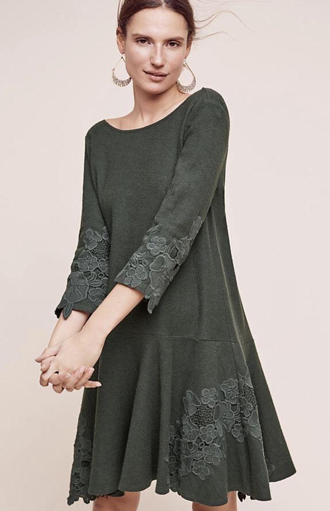 f04bf0611c44 NWT Anthropologie Maeve green Lace Trimmed Dropwaist Knit Swing Dress  Petite L  Maeve  dropwaistswingydress