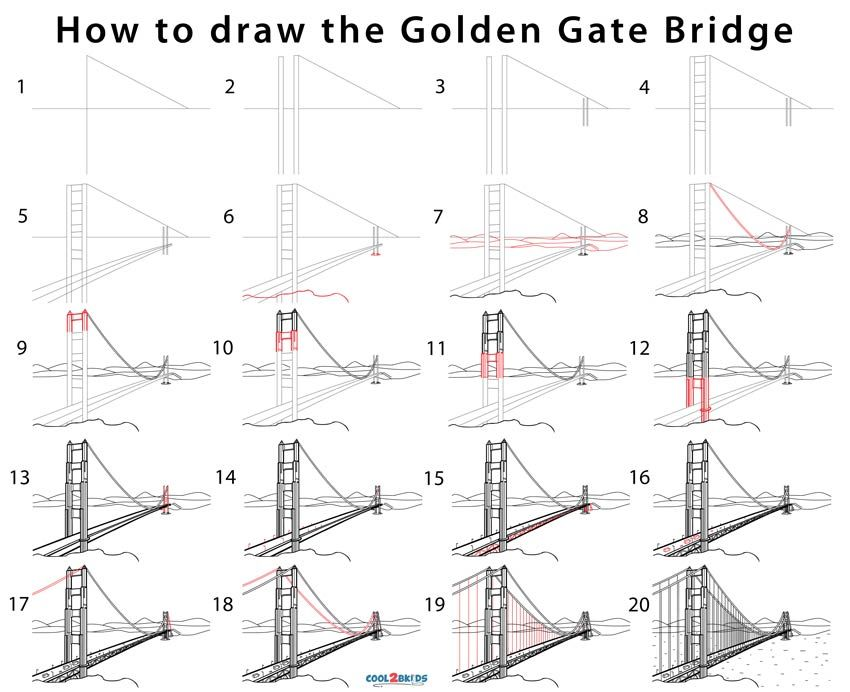 Golden Gate Bridge Drawing Step By Step Pictures Cool2bkids