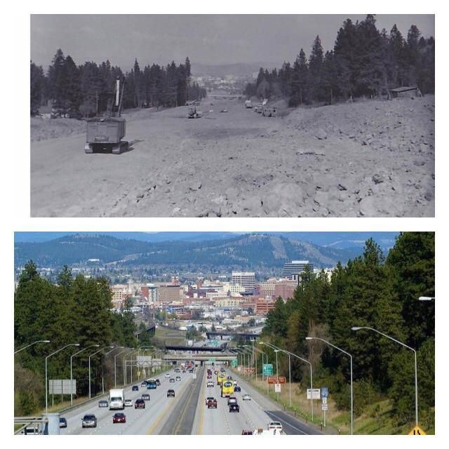 Interstate 90 into Spokane Washington (1962 vs 2017) Old School