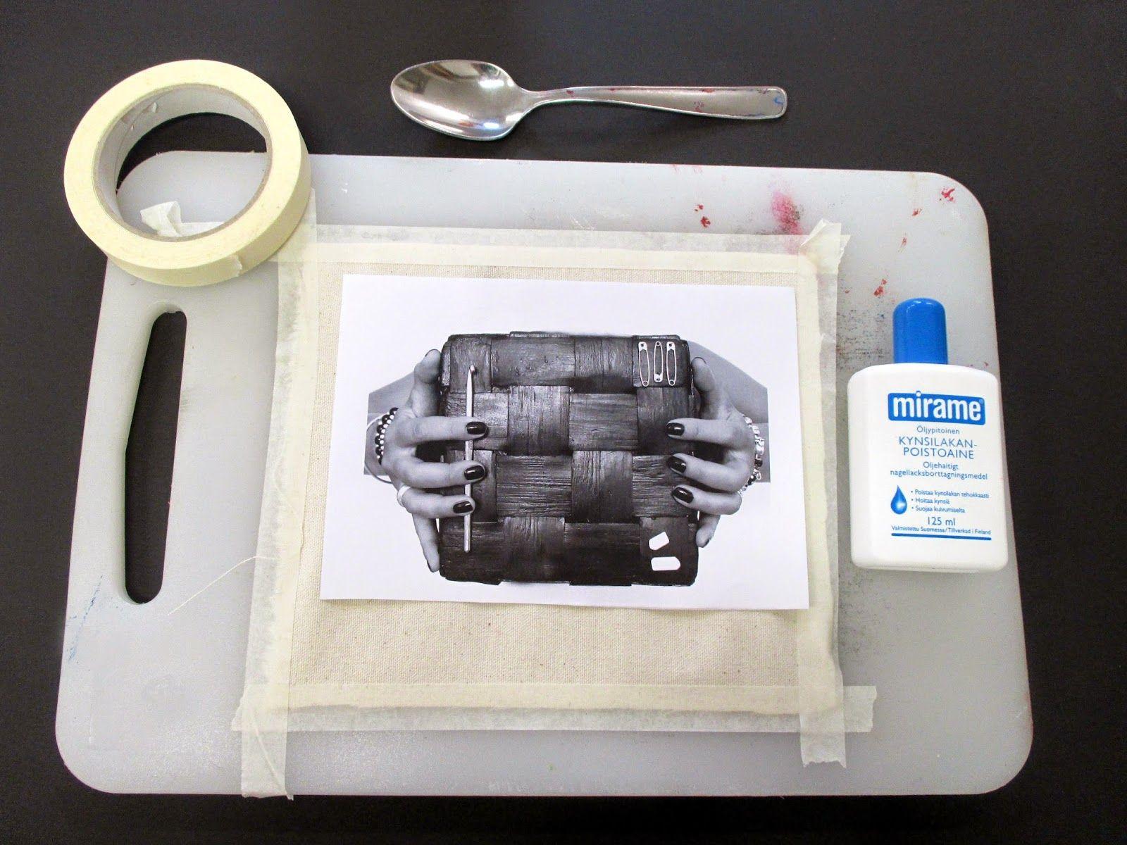 omⒶ KOPPA: Kuvansiirto kankaalle kynsilakanpoistoaineen avulla