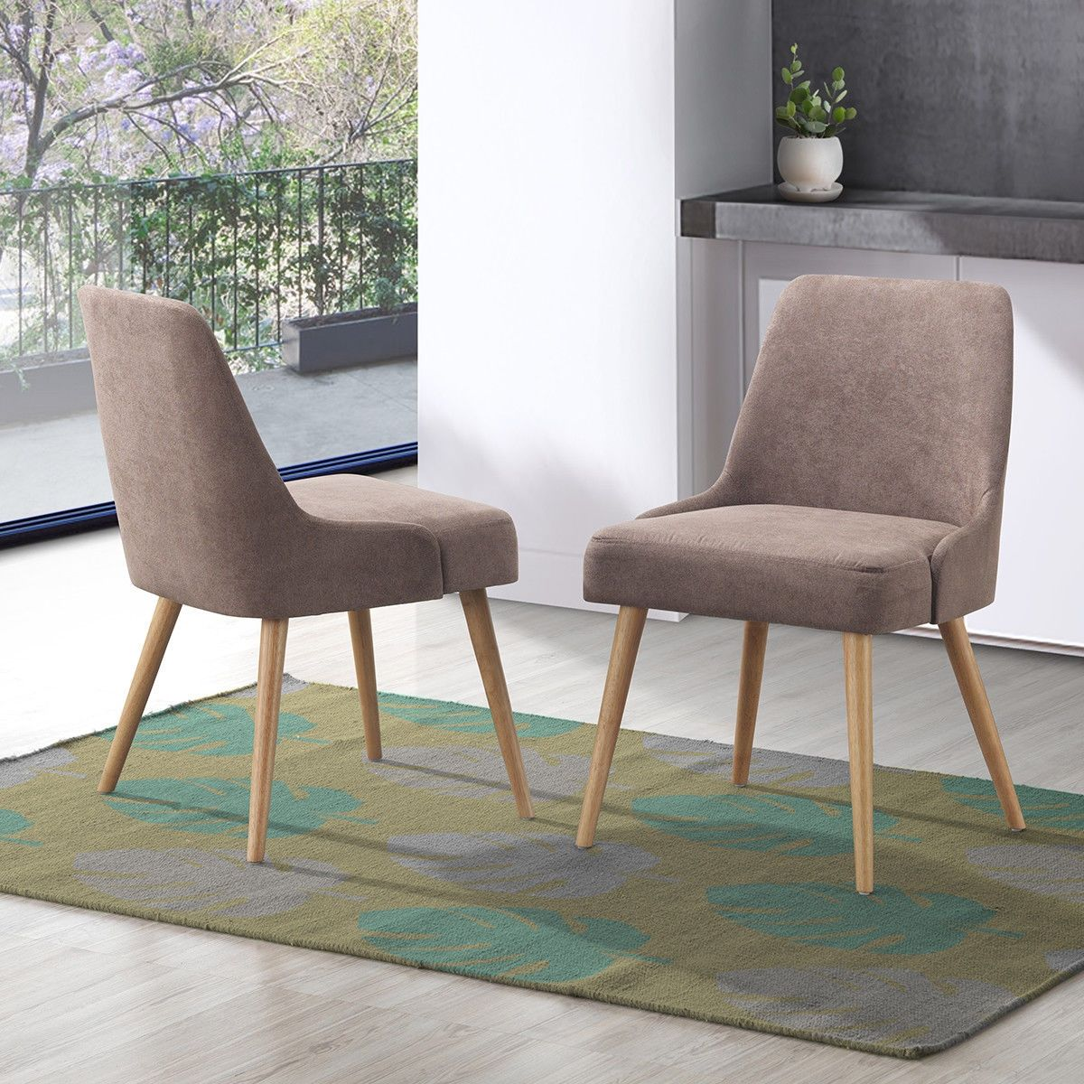 Set of 2 Accent Upholstered Seat Elegant Dining Side Chairs