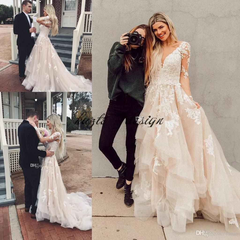 945594a11cd0 Boho Lace Wedding Dresses Layered Tulle Appliques A-Line Bridal Dresses  Illusion Sleeves Rustic Country