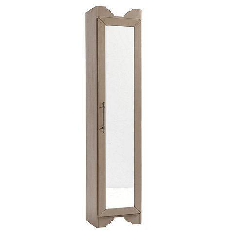 Elegant Brushed Taupe Sarah Storage Tower   Mirrored Door
